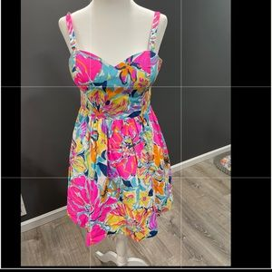 Lilly Pulitzer Sundress Dress Neon Floral Size 0